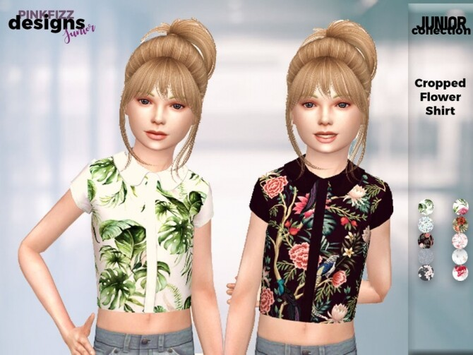 Sims 4 Junior Cropped Flower Shirt by Pinkfizzzzz at TSR