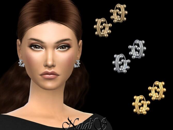 Sims 4 Double beaded mini hoop earrings by NataliS at TSR