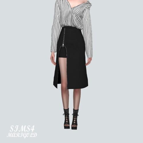 Zipper Slit Midi Skirt
