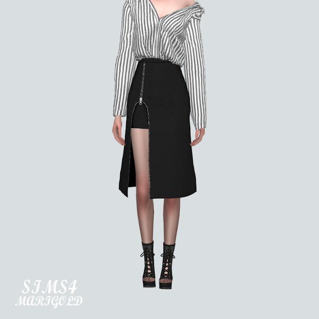 Sims 4 Zipper Slit Midi Skirt at Marigold
