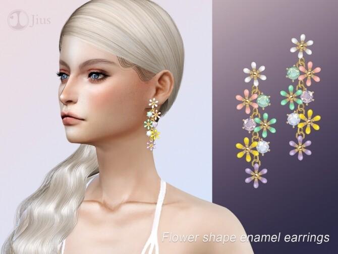 Sims 4 Shape enamel earrings by Jius at TSR