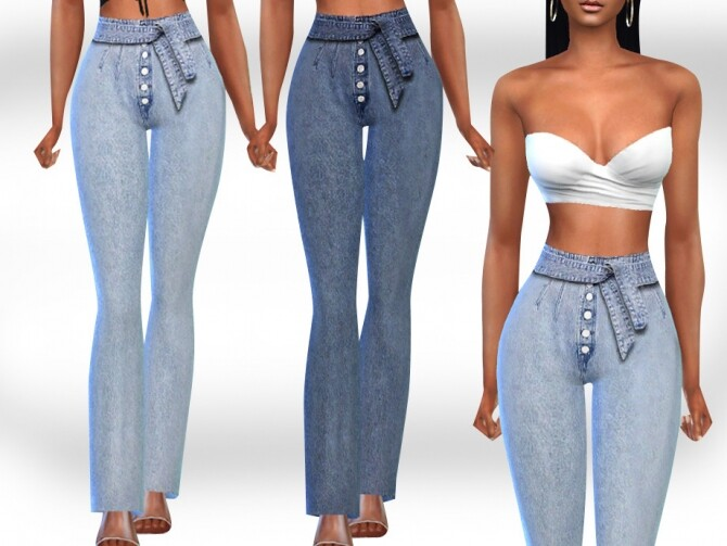Sims 4 Front Tie Button Jeans by Saliwa at TSR