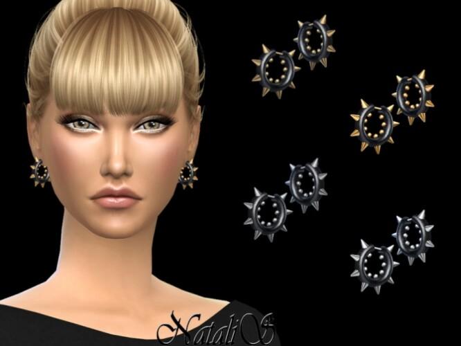 Onyx hoop earrings with spikes by NataliS