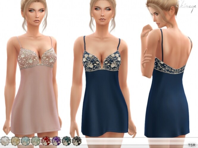 V-Neck Embellished Shift Dress by ekinege