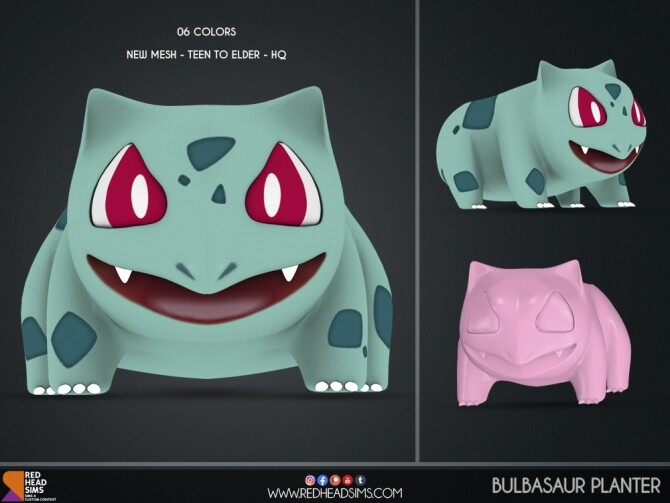 BULBASAUR + ODDISH PLANTER by Thiago Mitchell at REDHEADSIMS image 1273 670x503 Sims 4 Updates
