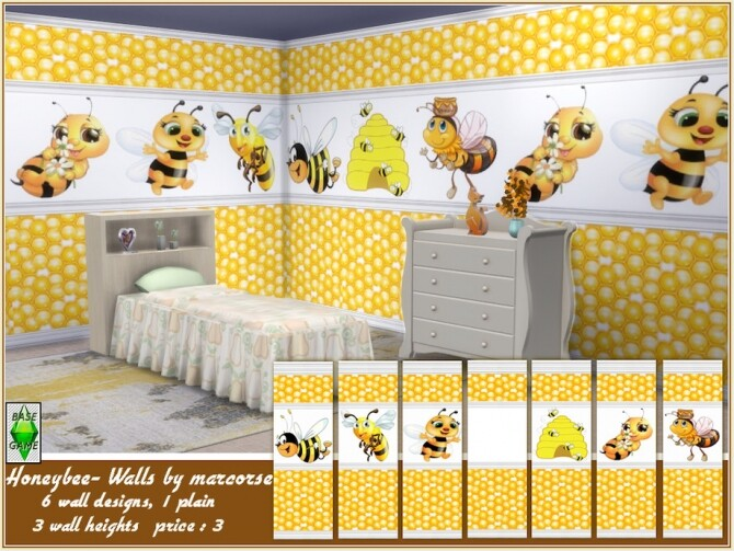Sims 4 Honeybee Walls by marcorse at TSR