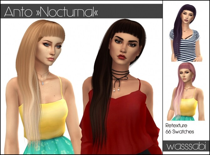 Sims 4 Antos Nocturnal hair retextured at Wasssabi Sims
