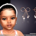 Bowknot Pearl Earrings For Toddlers by feyona