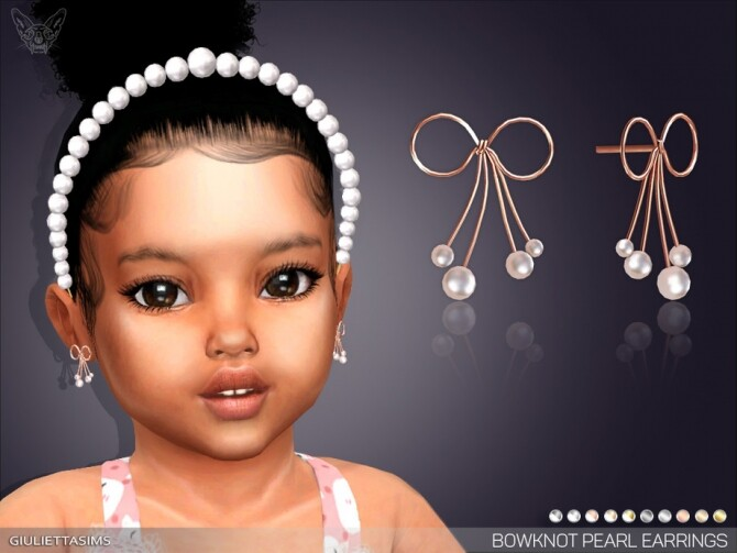 Sims 4 Bowknot Pearl Earrings For Toddlers by feyona at TSR