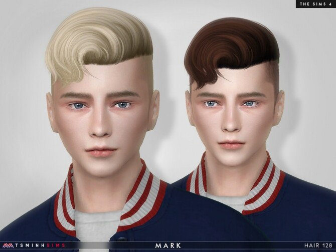 Sims 4 Mark Hair 128 for males by TsminhSims at TSR