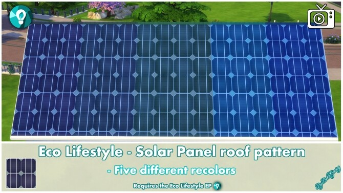 Sims 4 Eco Lifestyle Roof Pattern Solar Panels by Bakie at Mod The Sims