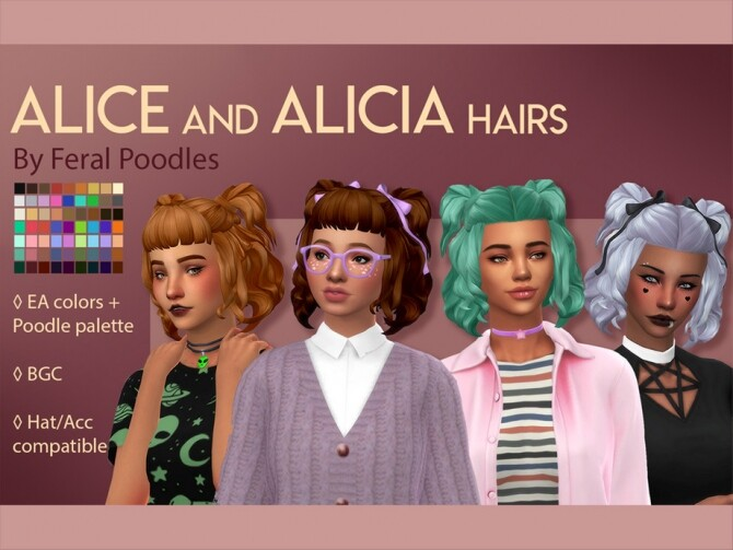 Sims 4 Alicia Hair by feralpoodles at TSR