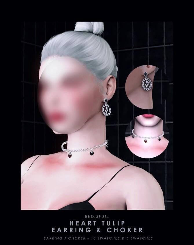Heart tulip earrings & choker at Bedisfull – iridescent image 1494 670x849 Sims 4 Updates