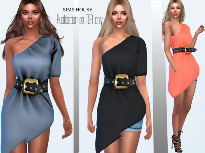 Sims 4 Tunic with a belt with rivets by Sims House at TSR