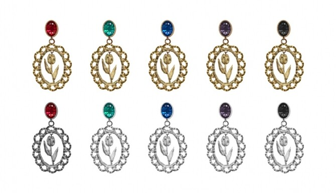 Sims 4 Heart tulip earrings & choker at Bedisfull – iridescent