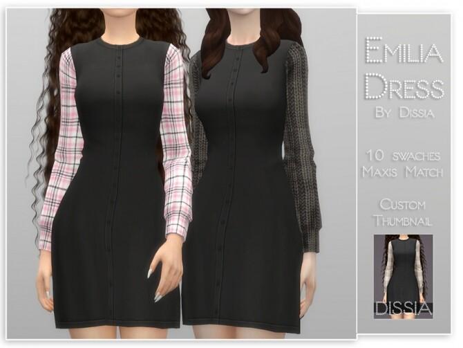 Sims 4 Emilia Dress by Dissia at TSR