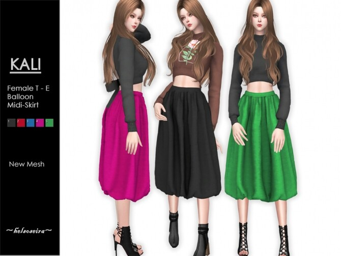 Sims 4 KALI Balloon Midi Skirt by Helsoseira at TSR