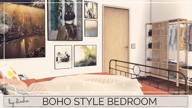Sims 4 BOHO STYLE BEDROOM at Dinha Gamer