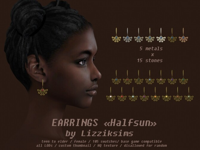 Halfsun earrings at LizzikSims image 1542 670x503 Sims 4 Updates