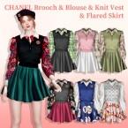 Brooch Blouse Knit Vest Flared Skirt