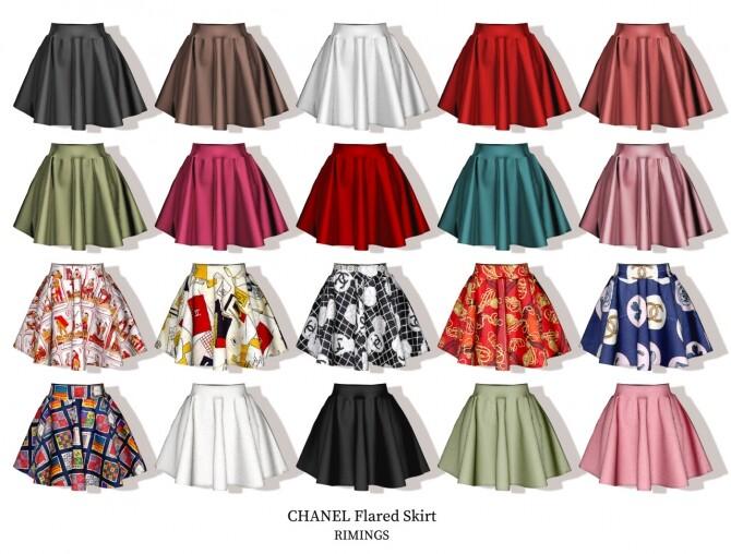 Sims 4 Brooch & Blouse & Knit Vest & Flared Skirt at RIMINGs
