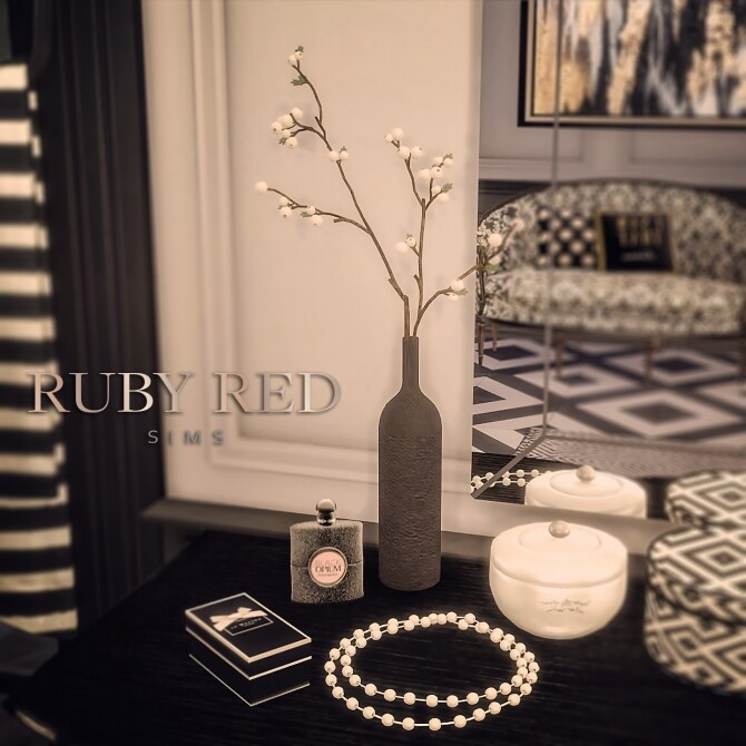 Sims 4 Artificial White Seed Plants, Pearl necklace & Jewelry box at Ruby's Home Design
