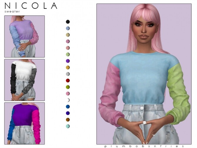 Sims 4 NICOLA sweater by Plumbobs n Fries at TSR