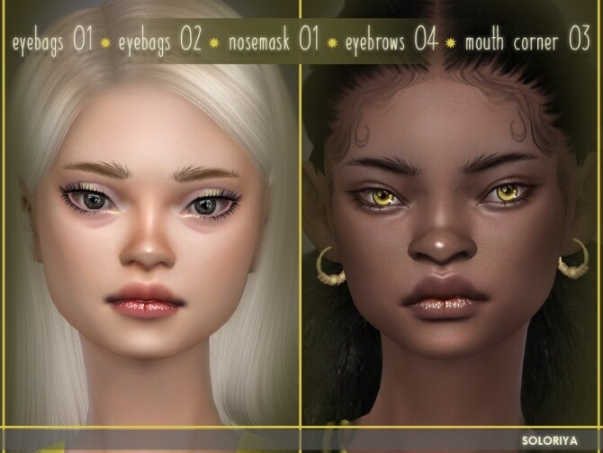 Sims 4 Eyebags 01 & 02, nosemask 01, eyebrows 04, mouth corner 03 at Soloriya