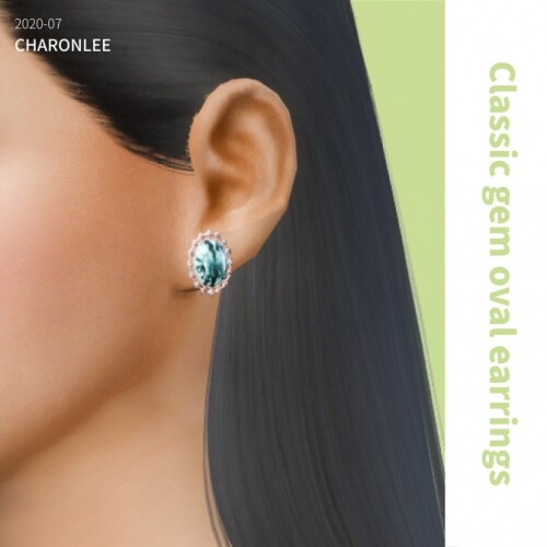 Classical gem oval earrings
