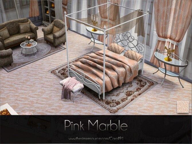 Sims 4 Pink Marble floor by Caroll91 at TSR