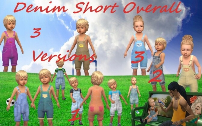 Sims 4 Toddlers Short Denim Overalls at Birksches Sims Blog