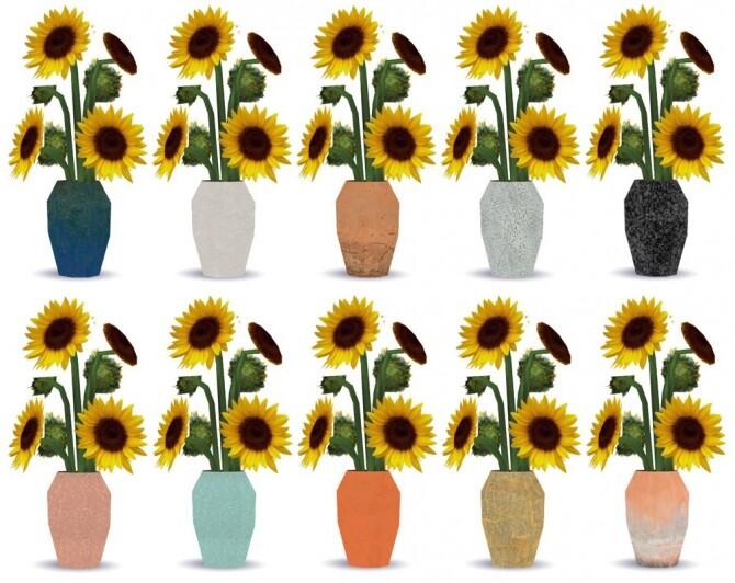 Sims 4 Sunflower retextures of a BG vase at Riekus13