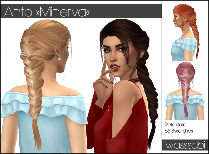 Sims 4 Antos Minerva hair retextured at Wasssabi Sims