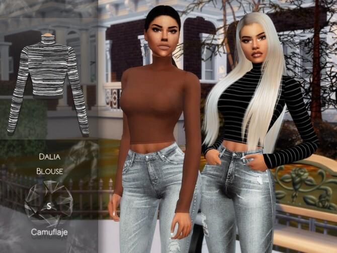 Sims 4 Dalia Blouse by Camuflaje at TSR