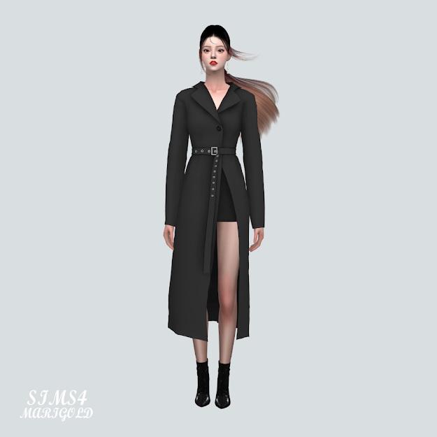 Sims 4 Long Jacket Dress With Belt at Marigold