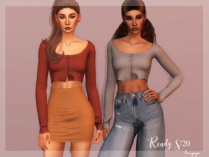 Sims 4 Short Cardigan Top s20 TP347 by laupipi at TSR