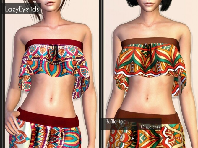 Sims 4 Short dress, Long skirt, 3 Tops (with straps, cross & ruffle) at LazyEyelids