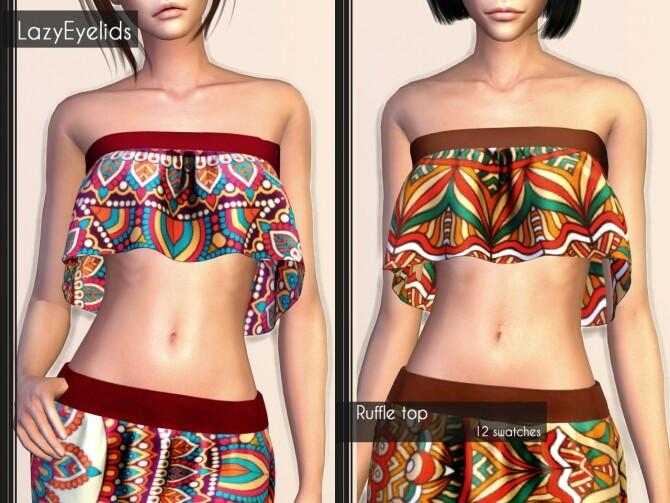 Short dress, Long skirt, 3 Tops (with straps, cross & ruffle) at LazyEyelids image 1886 670x503 Sims 4 Updates
