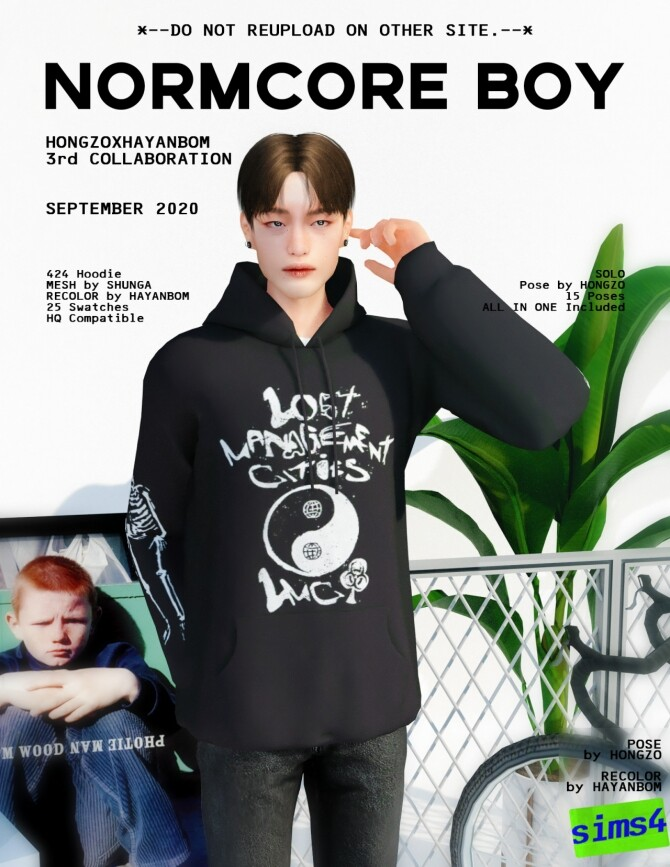Sims 4 T shirt, Hoodie & NORMCORE BOY POSES at Hayanbom