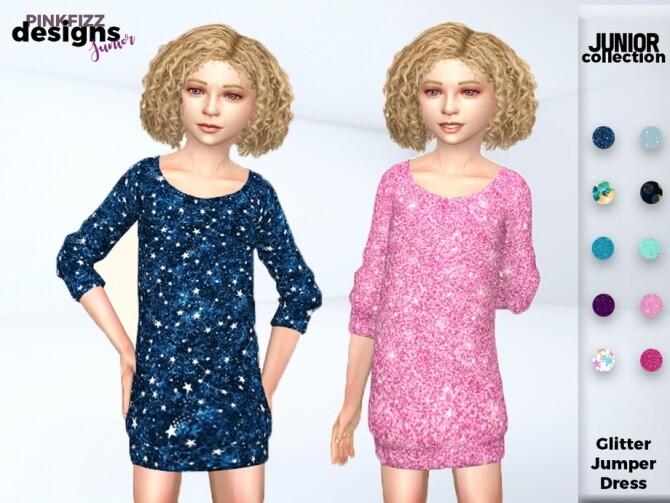 Sims 4 Junior Glitter Jumper Dress by Pinkfizzzzz at TSR