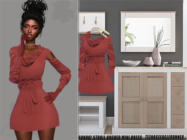Sims 4 Sunday Stroll Ruched Mini Dress at Teenageeaglerunner