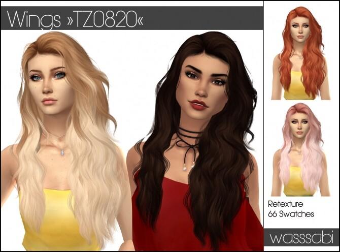 Sims 4 Wings TZ0820 hair retextured at Wasssabi Sims