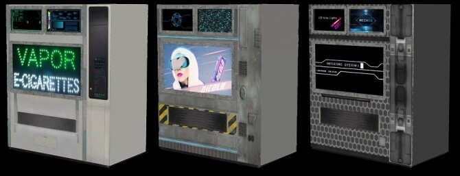 Cyberpunkish recolors of 2 vending machines at Riekus13 image 2093 670x257 Sims 4 Updates