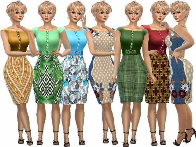 Sims 4 Dress knee belt recolor by TrudieOpp at TSR
