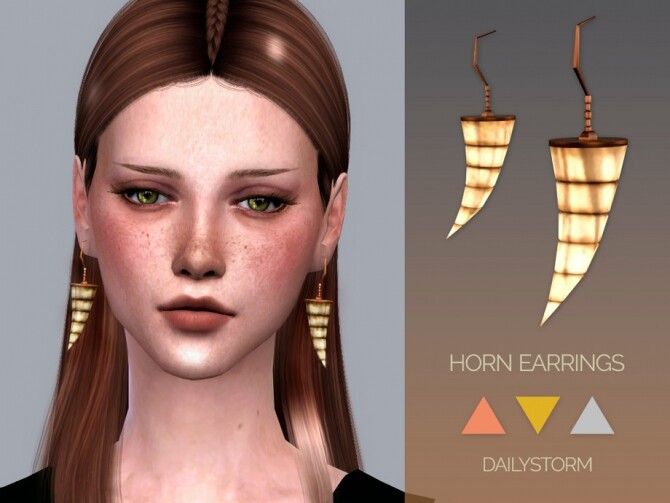 Sims 4 Horn Earrings by DailyStorm at TSR