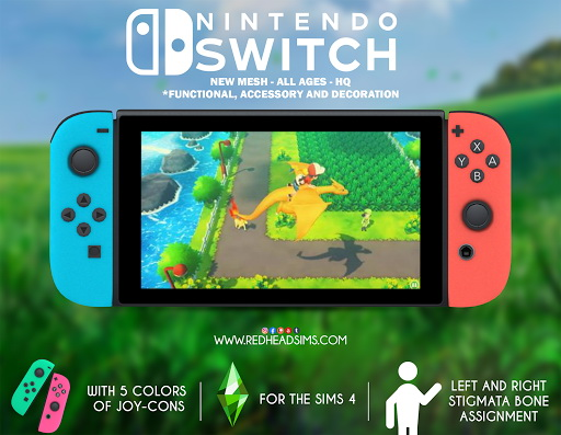 NINTENDO SWITCH   FUNCTIONAL, ACCESSORY AND DECORATION at REDHEADSIMS image 2151 Sims 4 Updates