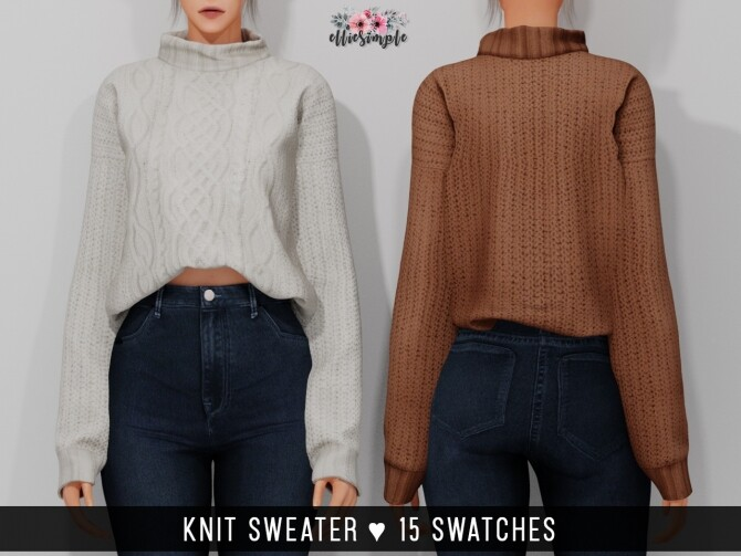 Sims 4 Bustier Crop Top & Knit Sweater at Elliesimple