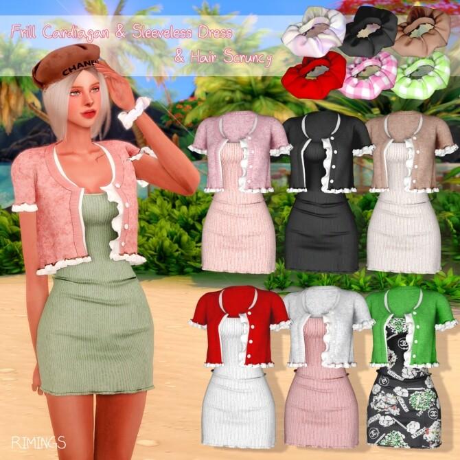 Frill Cardiagan & Sleeveless Dress & Hair Scruncy at RIMINGs image 2163 670x670 Sims 4 Updates