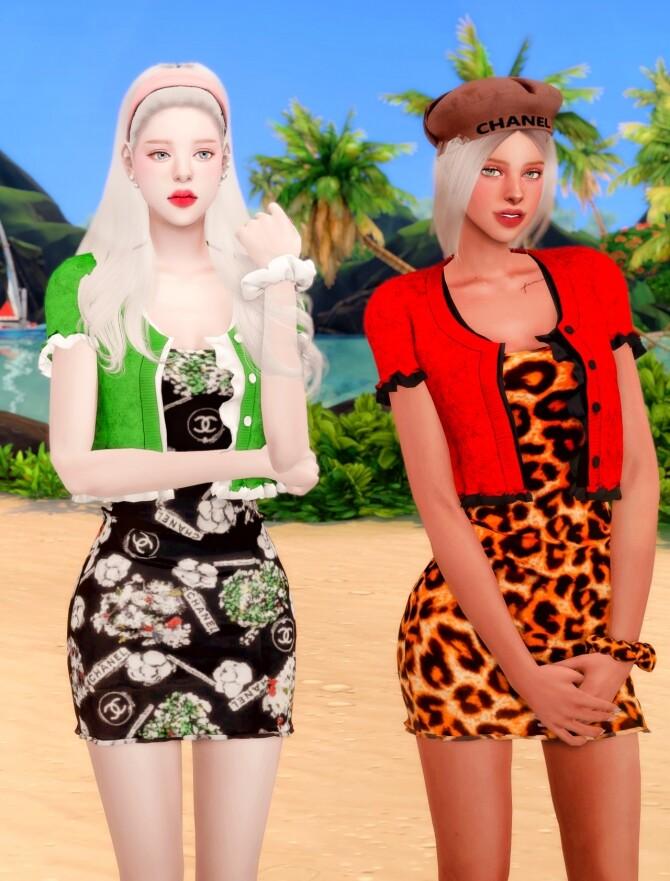 Frill Cardiagan & Sleeveless Dress & Hair Scruncy at RIMINGs image 2193 670x881 Sims 4 Updates