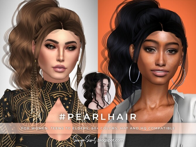 Sims 4 Pearl & Sunlinght hairs at Sonya Sims